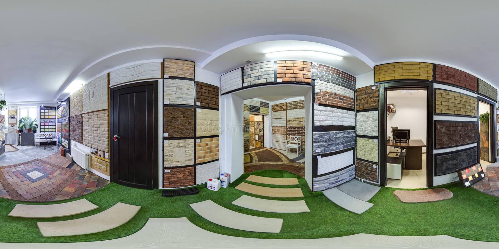 Moscow-2018: 3D spherical panorama with 360 degree viewing angle of the hardware store interior with paving slab and decorative ti. Les. Full equirectangular royalty free stock photo