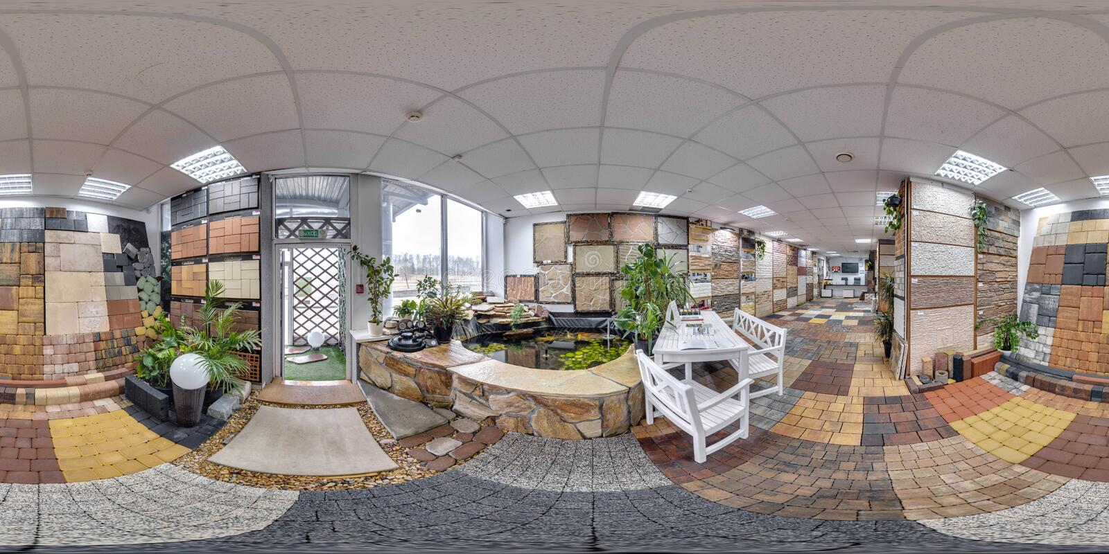 Moscow-2018: 3D spherical panorama with 360 degree viewing angle of the hardware store interior with paving slab and decorative ti. Les. Full equirectangular stock image