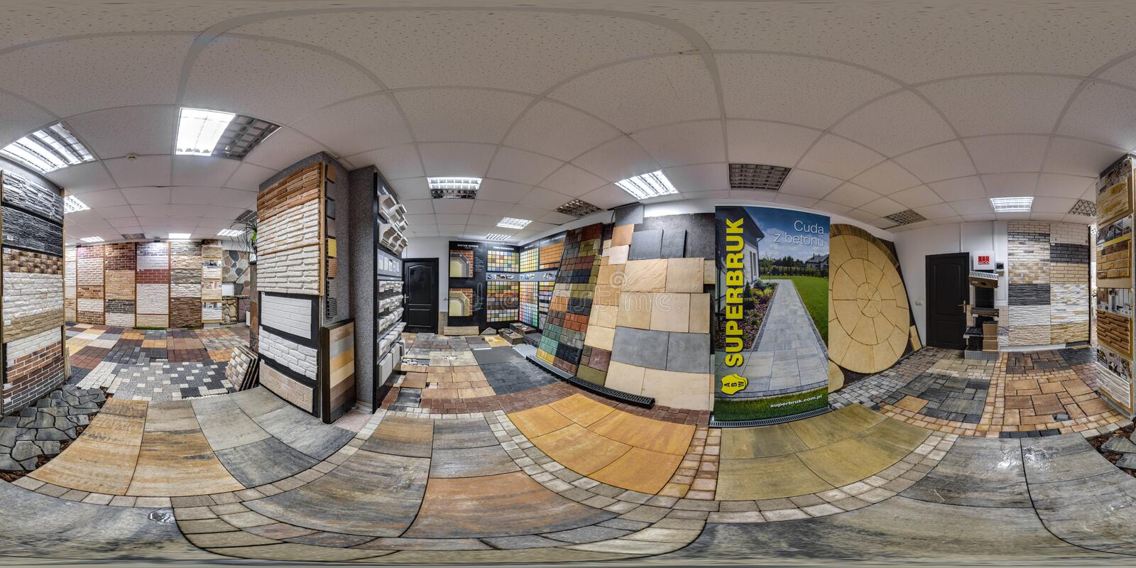 Moscow-2018: 3D spherical panorama with 360 degree viewing angle of the hardware store interior with paving slab and decorative ti. Les. Full equirectangular stock images