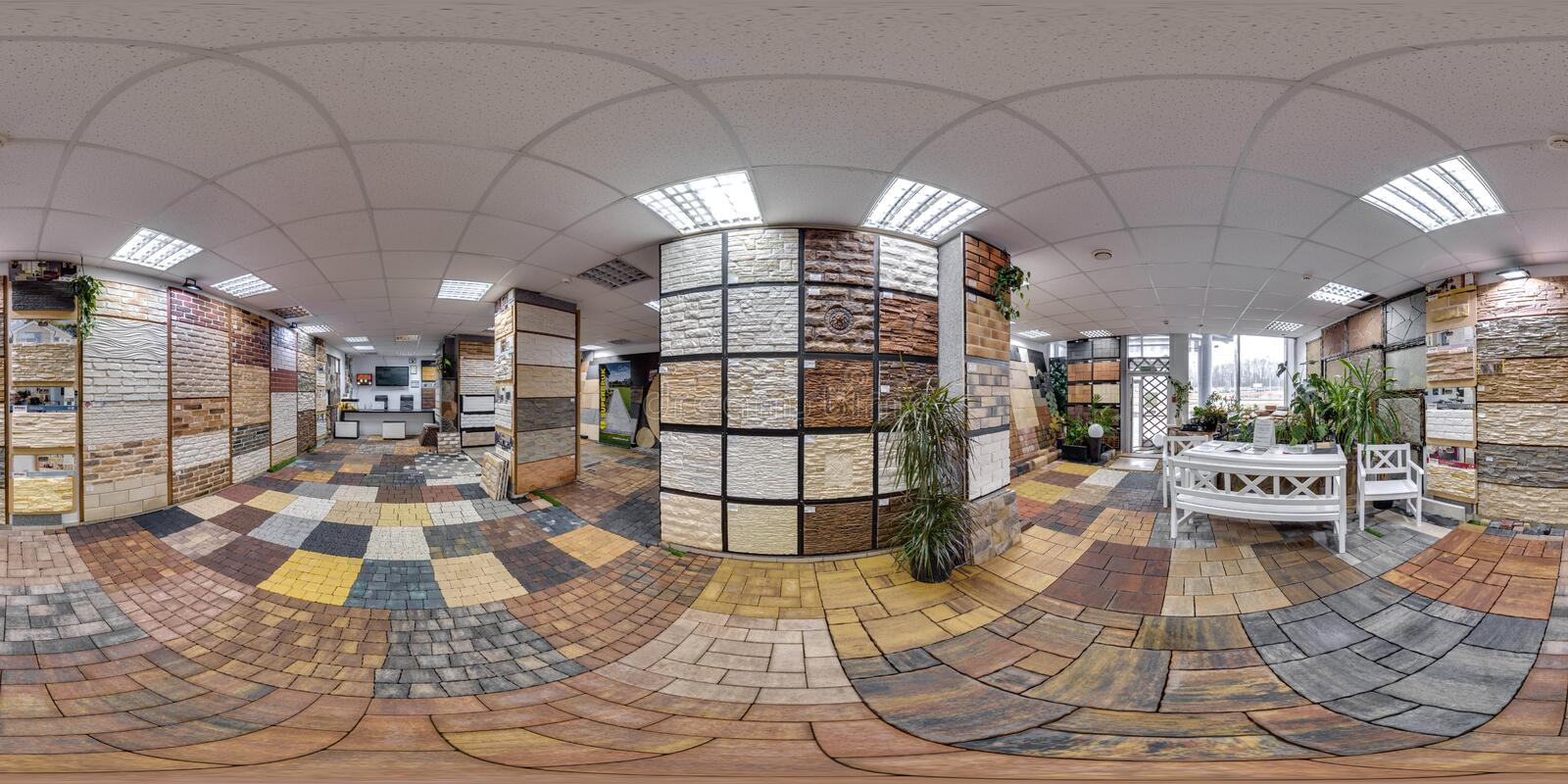 Moscow-2018: 3D spherical panorama with 360 degree viewing angle of the hardware store interior with paving slab and decorative ti. Les. Full equirectangular stock photography
