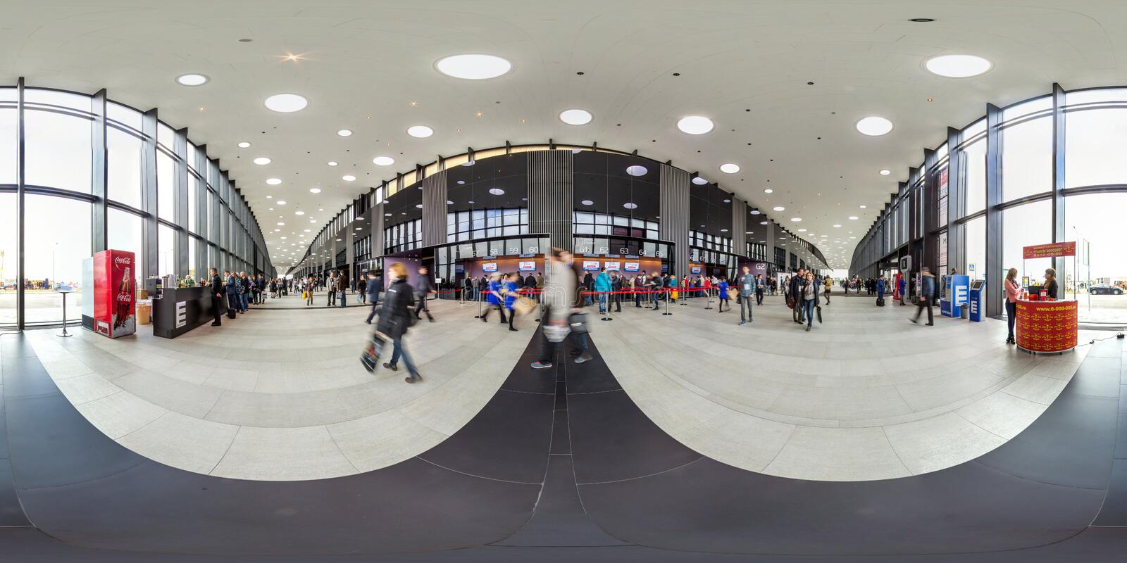 Moscow-2018: 3D spherical panorama with 360 degree viewing angle of the interior of the exhibition center with people . Ready for royalty free stock photography