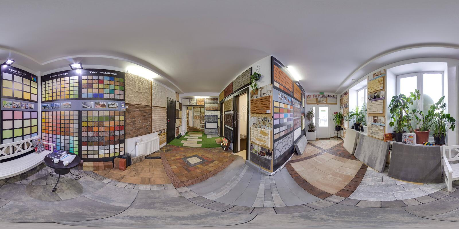Moscow-2018: 3D spherical panorama with 360 degree viewing angle. Of the hardware store interior with paving slab and decorative tiles. Full equirectangular royalty free stock photos
