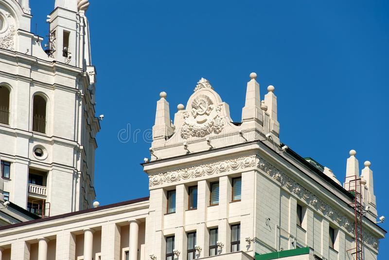 Moscow, Decor details High-rise at Kotelnicheskaya Embankment. Moscow, Russia - May 6, 2019: Finishing details High-rise at Kotelnicheskaya Embankment royalty free stock images