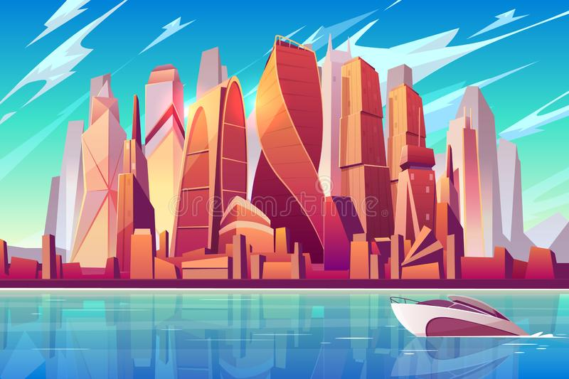 Moscow downtown cityscape vector background vector illustration