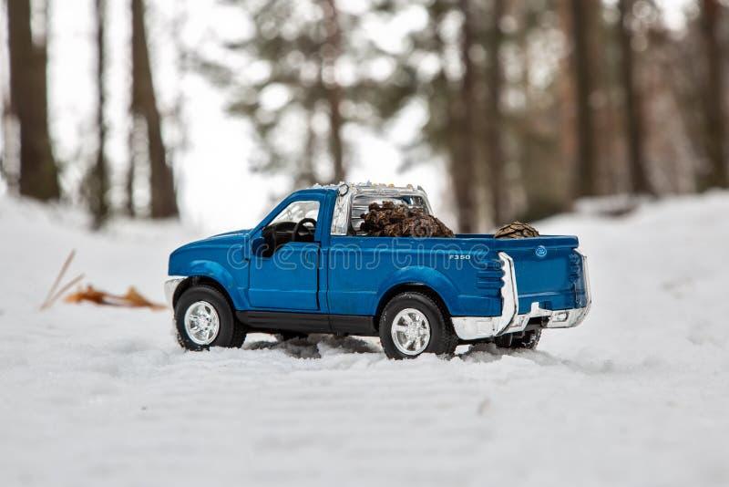 moscow Em dezembro de 2018 Camionete azul Ford F350 em cones de abeto da floresta da neve na parte de trás de um corpo de carro d fotografia de stock royalty free
