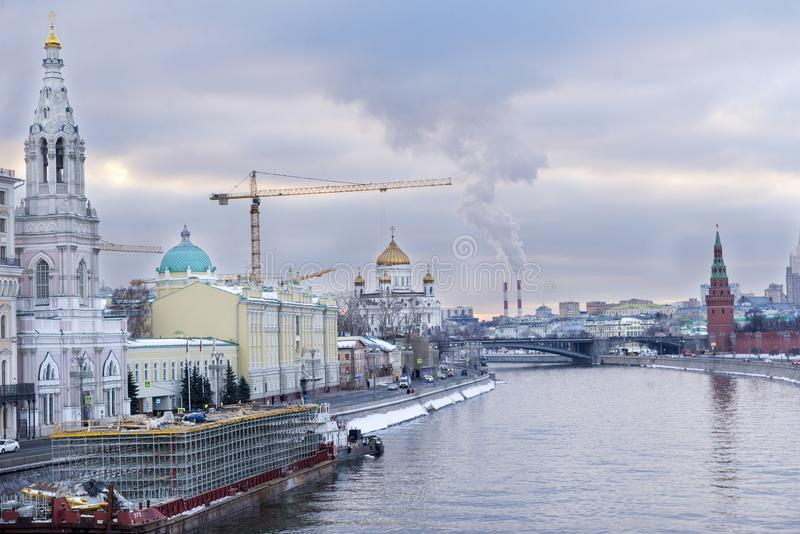 Moscow, embankment of the Moscow river at sunset, city view, Cathedral of Christ the Saviour, Kremlin tower stock photo