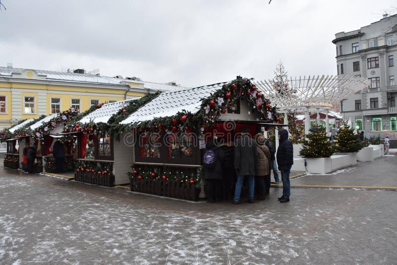 moscow gå till Moskvavintern arkivbilder