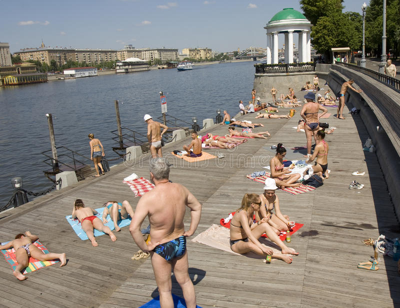 Moscow, Gorky park. MOSCOW - MAY 23, 2014: moscovites and city visitors rest in Gorky park in summer. Park located in centre of the city has been founded in 1928 royalty free stock photography