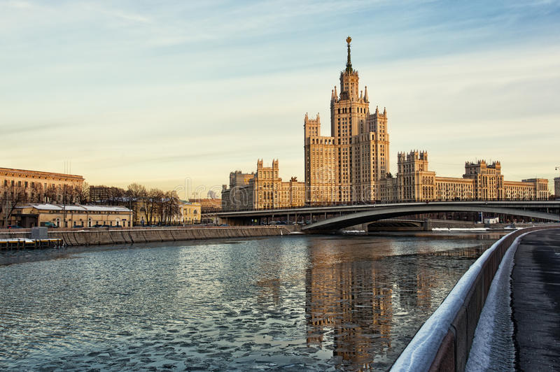 Moscow, high-rise building on Konelnicheskaya Embankment stock photography