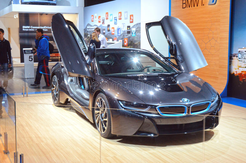Download Moscow International Automobile Salon BMW I8 Dark Blue Luxury Editorial Stock Image