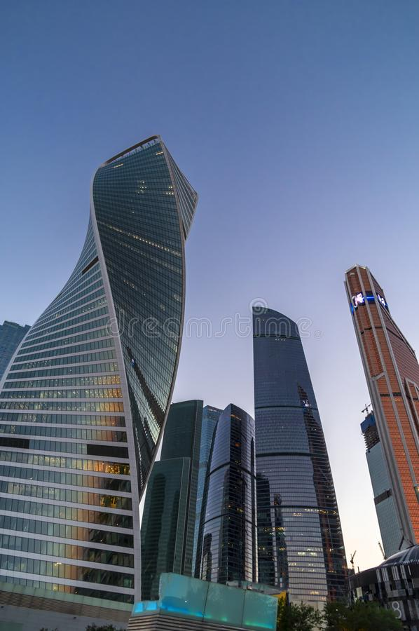 Moscow international business center Moscow-city. Bottom view on skyscrapers. stock photo