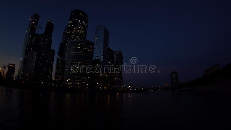 The Moscow International Business Center Moscow-City, the Bagration Bridge  and the World Trade Center in the evening