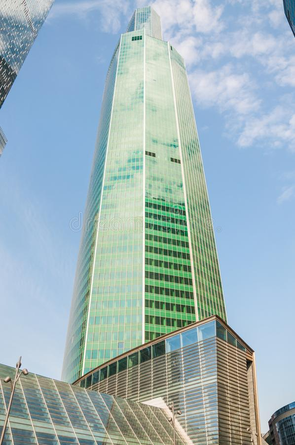 Moscow International Business Center Moskva-City MIBC. Eurasia tower Steel Peak royalty free stock images