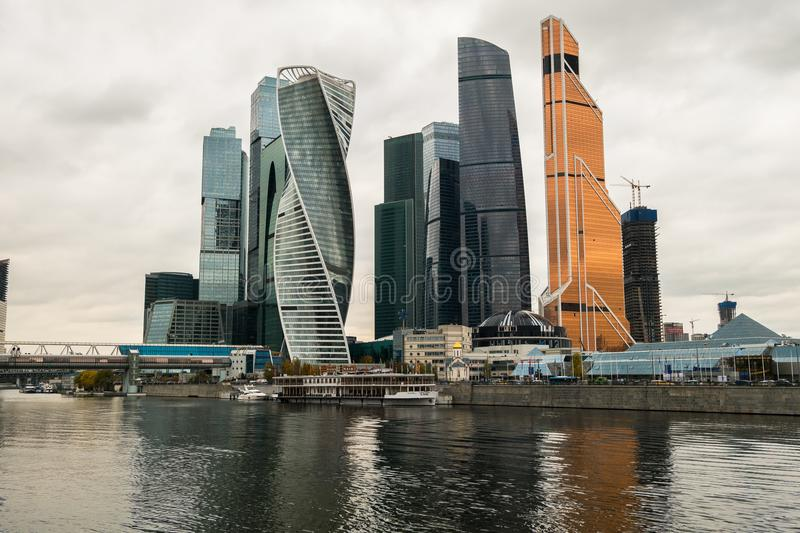 Modern skyscrapers of the Moscow International Business Centre MIBC on the Moscow river embankment. Russia. stock images