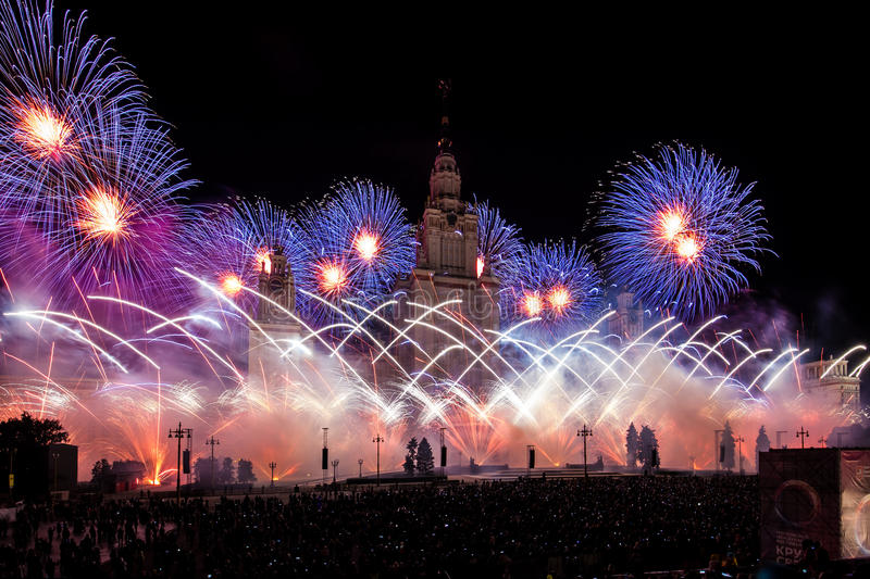 Moscow International Festival Circle of light. Pyrotechnic fireworks show on Moscow State University. Moscow, Russia - September, 2016: Moscow International royalty free stock image