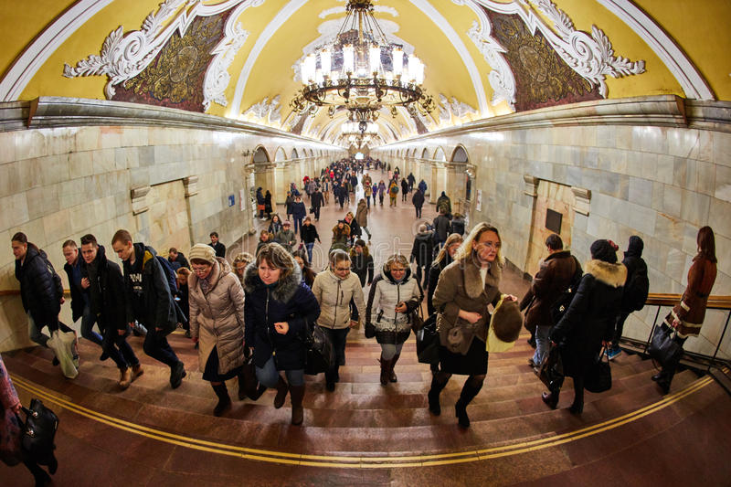 Moscow - 10 January 2017: Komsomolskaya metro station stock photo