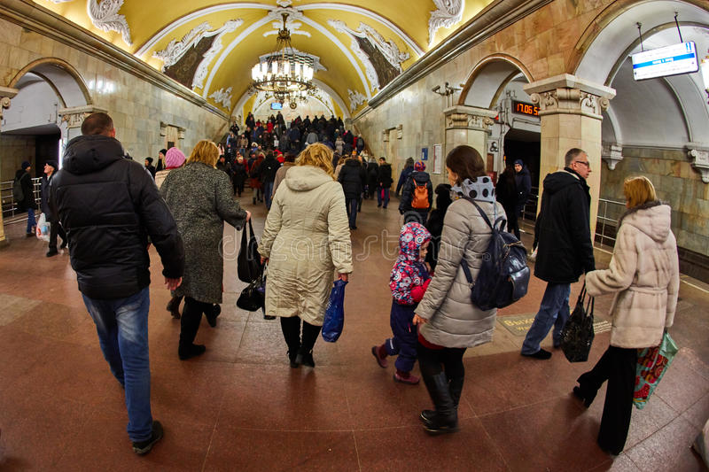 Moscow - 10 January 2017: Komsomolskaya metro station royalty free stock photography