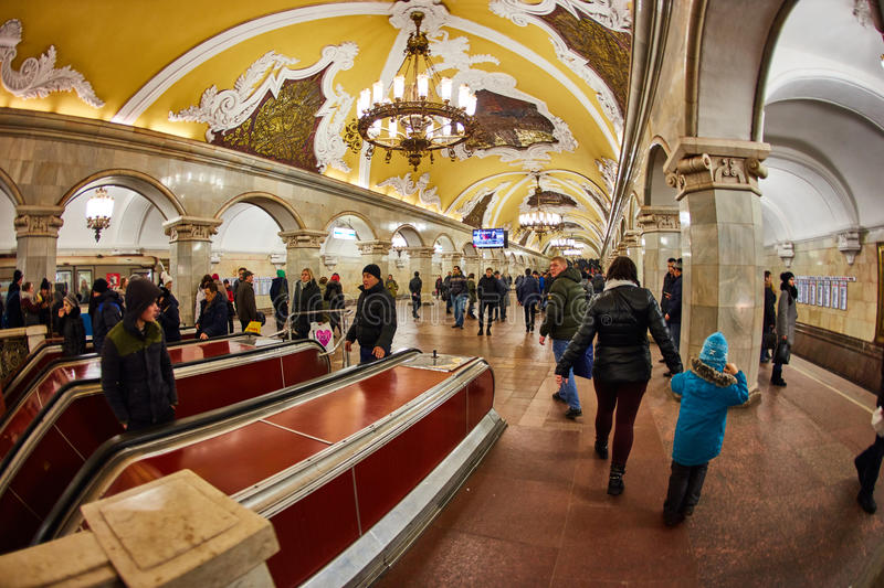 Moscow - 10 January 2017: Komsomolskaya metro station royalty free stock photos