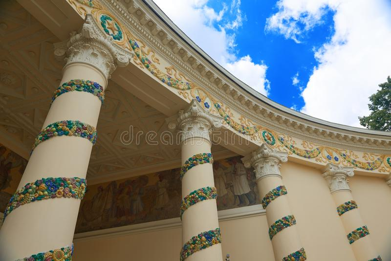 MOSCOW, JUL. 28, 2019: Diagonal wide view on VDNKh pavilion Belarus built in traditional USSR style with flowers and floral elemen royalty free stock photo