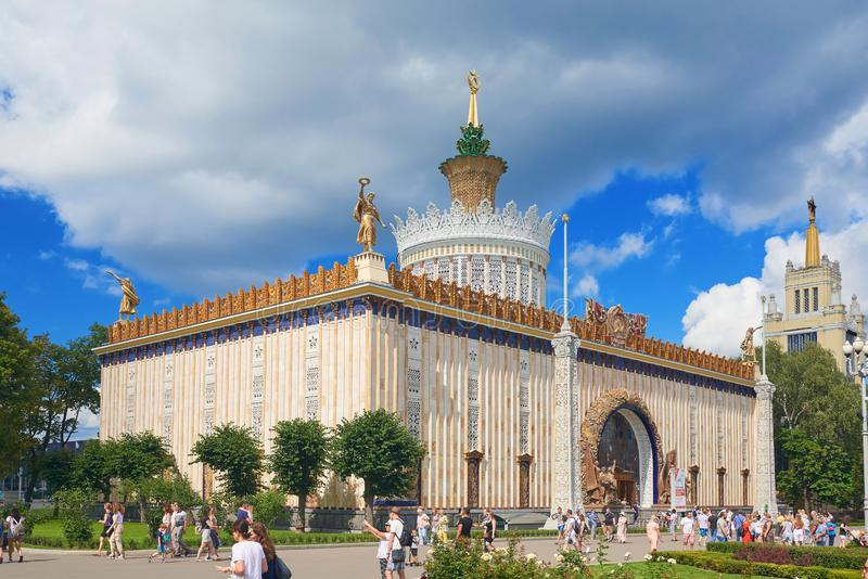 MOSCOW, JUL. 28, 2019: VDNKh pavilion Agriculture built in USSR Stalinist empire style building with traditional soviet period ele stock photos
