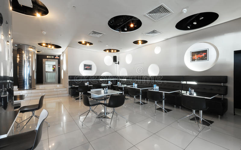 MOSCOW - JULY 2014: Modern, futuristic interior of the restaurant-club. GT BAR in black-and-white design stock photo