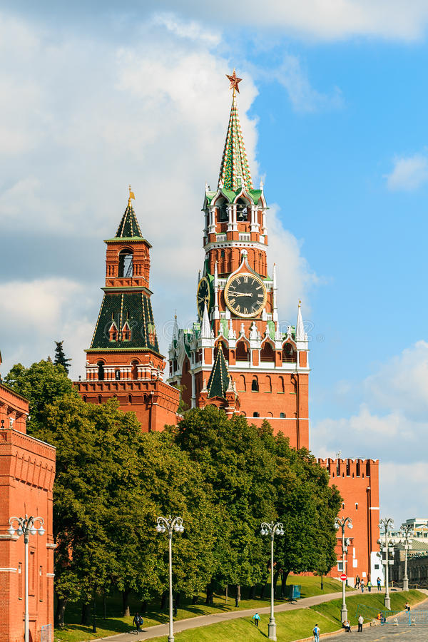 MOSCOW JULY 15: View to towers of Kremlin Wall on 15 July 2015 in Moscow stock photography