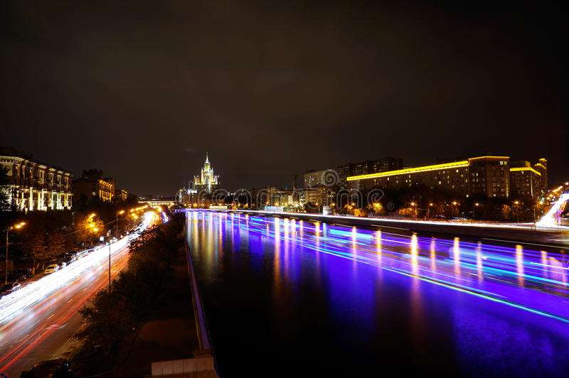Moscow Kotelnicheskaya Embankment Building. Time-lapse royalty free stock photo