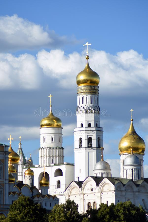 Moscow Kremlin architecture. Color summertime photo. Moscow Kremlin architecture. UNESCO World Heritage Site. Blue sky background. Color summertime photo stock photos
