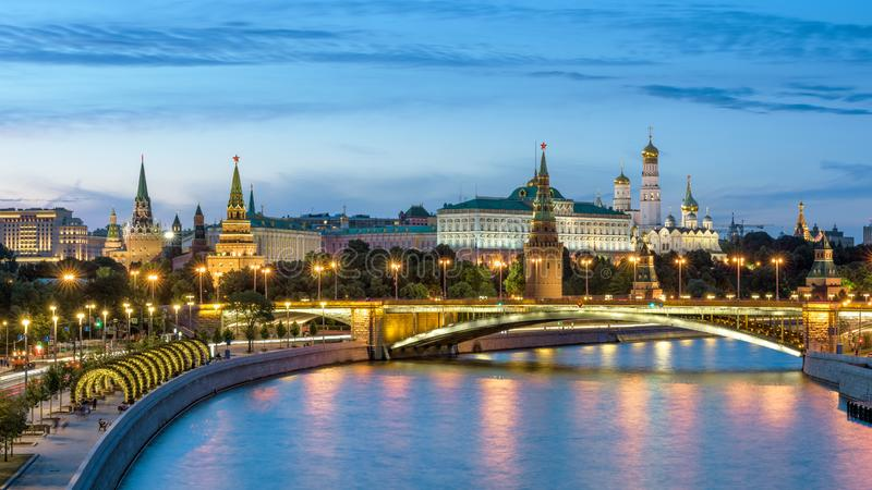 Moscow Kremlin and bridge over Moskva River at night, Russia royalty free stock images