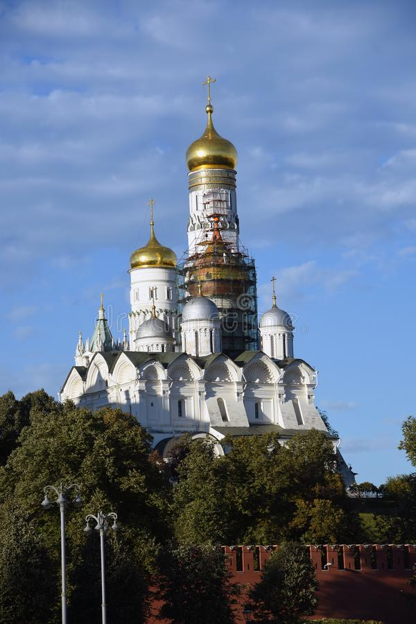 Moscow Kremlin churches. Color photo. Moscow Kremlin churches. Blue sky background. UNESCO World Heritage Site. Color photo royalty free stock photos