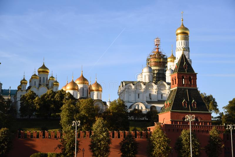 Moscow Kremlin churches. Color photo. Moscow Kremlin churches. Blue sky background. UNESCO World Heritage Site. Color photo stock photo
