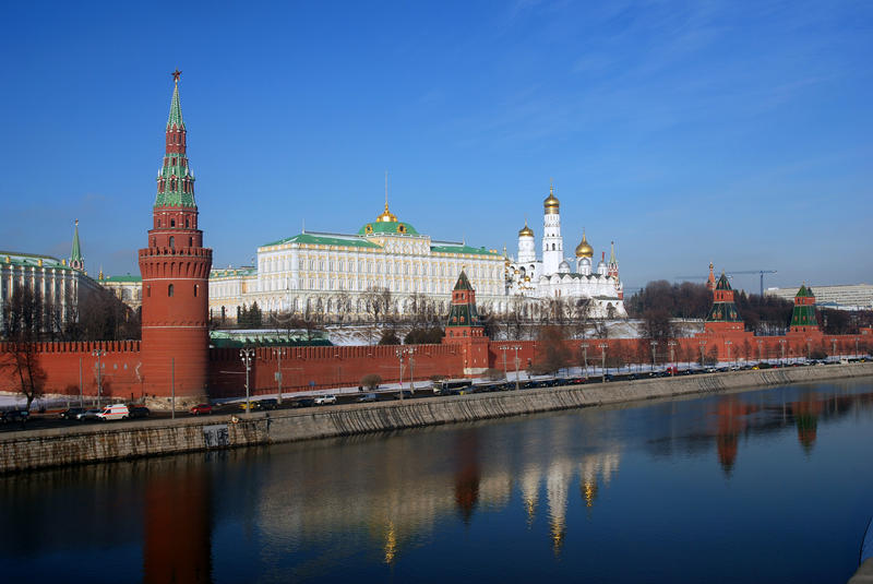 Moscow Kremlin. Color photo. Clear water reflection. Moscow Kremlin. UNESCO World Heritage Site. Color photo. Clear water reflection royalty free stock images