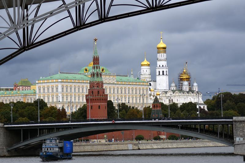 Moscow Kremlin. Color summertime photo. A cruise ship sails on the Moscow river. stock photography
