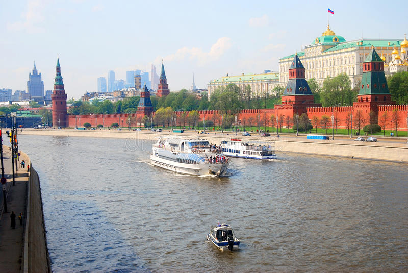 Moscow Kremlin. Cruis ships sail on the Moscow river. Moscow Kremlin. UNESCO World Heritage Site. Cruis ships sail on the Moscow river. Taken on 01.05.2014 royalty free stock image