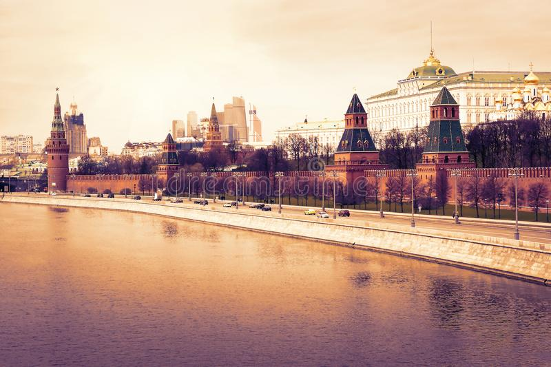 Moscow Kremlin and embankment of the Moscow river in capital of Russian Federation at sunrise. Urban skyline royalty free stock photo