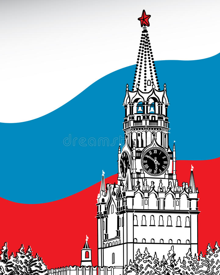 The Moscow Kremlin. Flag Of Russia.Vector vector illustration
