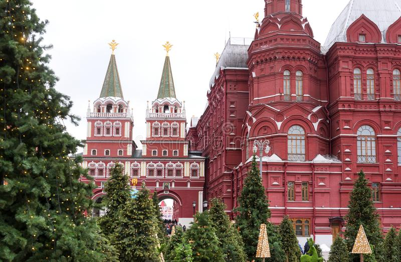 Moscow Kremlin ,the gate to red square, green spruce royalty free stock photos