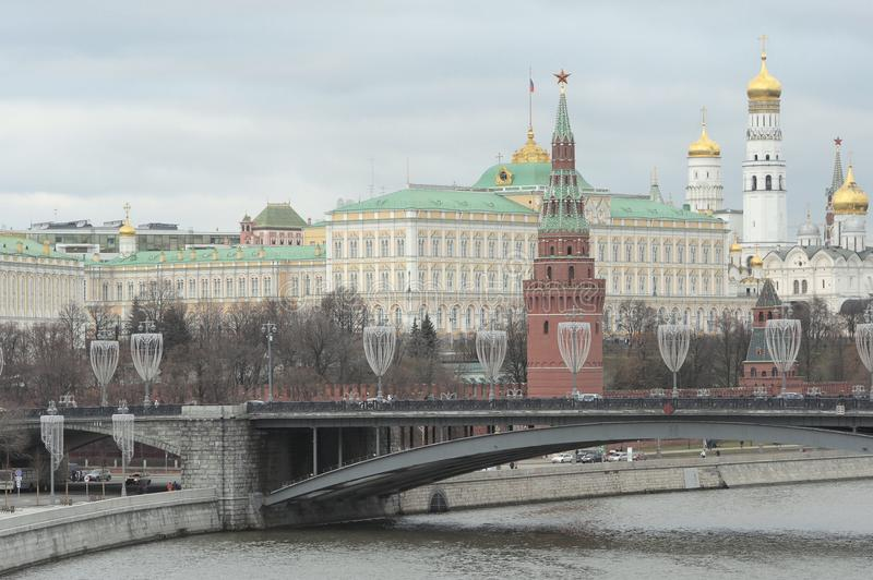 The Moscow Kremlin, the Great Stone Bridge, the Moskva River embankment, Moscow, Russia. stock photography