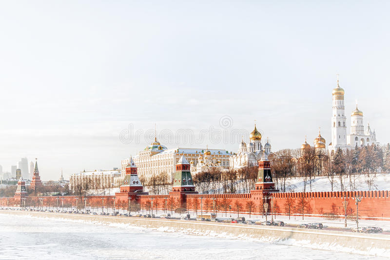 Moscow Kremlin and the Kremlin embankment in winter stock photos