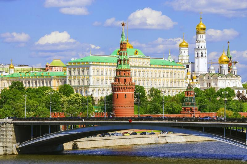 Moscow Kremlin and a large stone bridge, Russia royalty free stock image