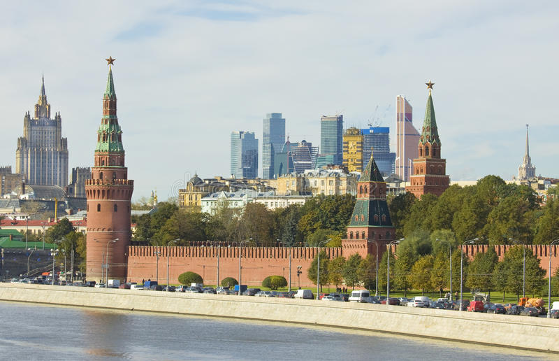 Moscow, Kremlin and modern buildings royalty free stock photos