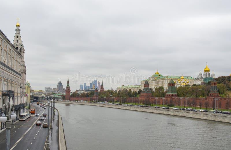 Moscow Kremlin on Moskva river embankment stock image