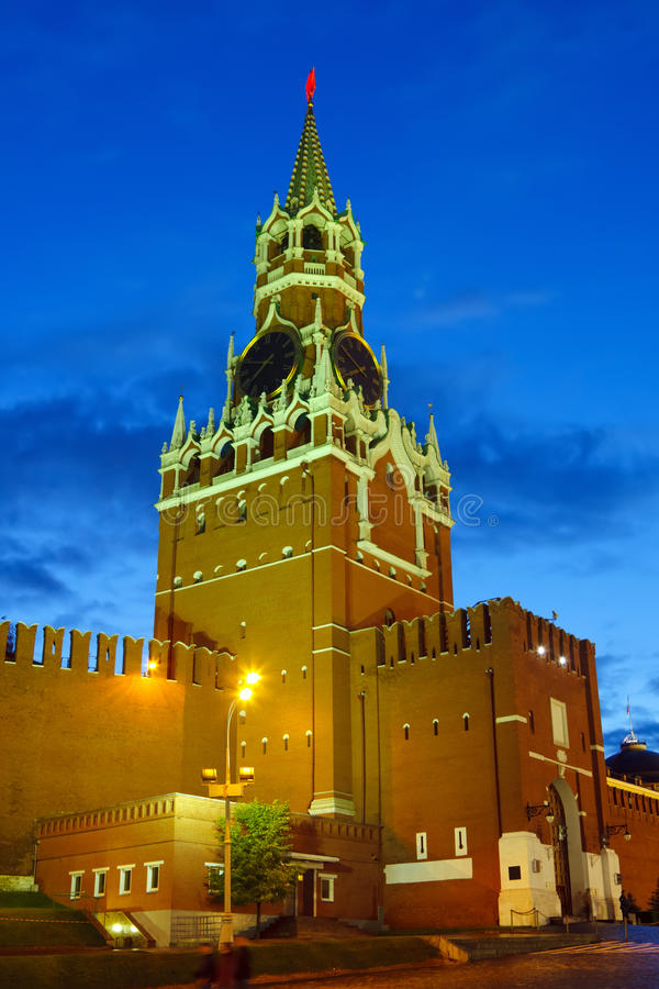 Moscow Kremlin at night stock images