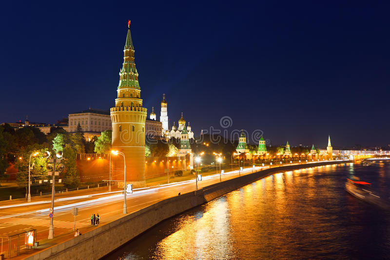 Moscow kremlin at night royalty free stock images
