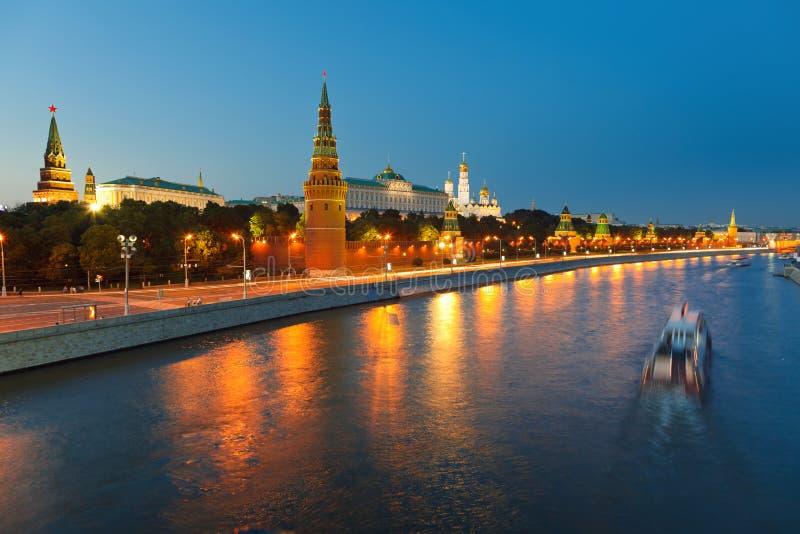 Moscow kremlin at night royalty free stock image