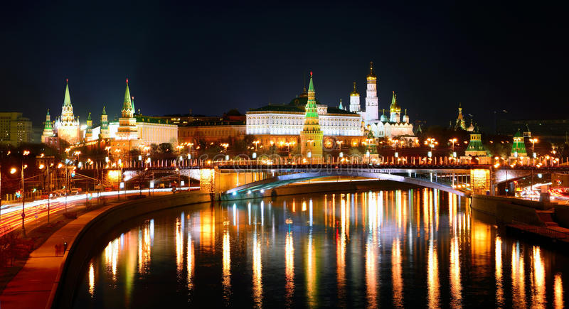 The Moscow Kremlin at night. Moscow Kremlin and moskva river at night/ his photo was taken from Patriarshy bridge on Nov 11, 2012 stock image