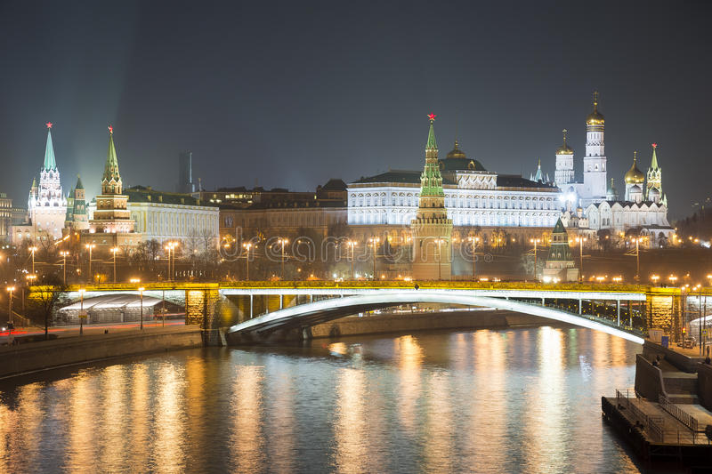 Moscow Kremlin at night. Popular tourist view of the main attraction of Moscow stock images