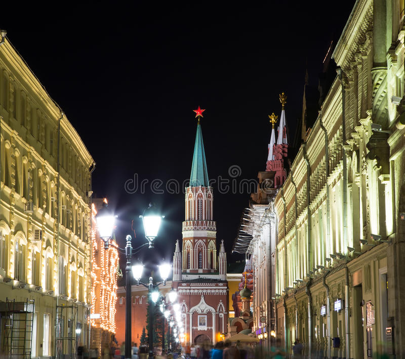 Moscow Kremlin By Night, Royalty Free Stock Image