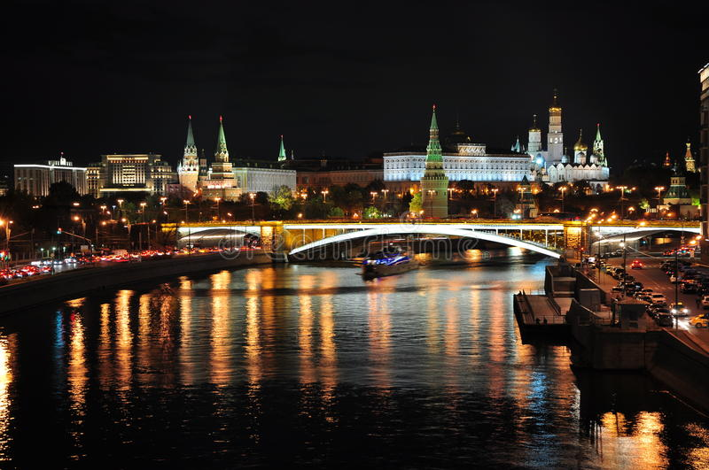 Moscow. Kremlin in Moscow in the night time stock images