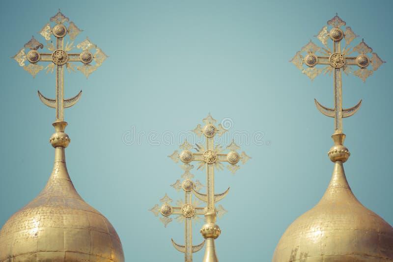 moscow kremlin orthodoxy Abóbadas e catedral de Verkhospassky das cruzes imagem de stock royalty free